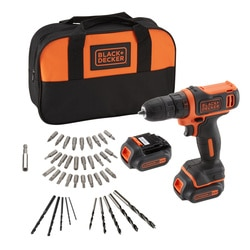 Black and Decker - Trapanoavvitatore compatto 108V litio 15Ah con doppia batteria con 40 accessori misti e softbag - BDCDD121BSA