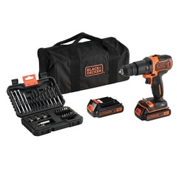 Black and Decker - TrapanoAvvitatore a percussione 18V Litio in borsa multiuso con doppia batteria e set 32 accessori - BDCHD18BS32