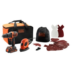 Black and Decker - TrapanoAvvitatore a Percussione 18V LITIO15Ah  Levigatrice Mouse a filo multifunzione 55W - BDK200AS1S