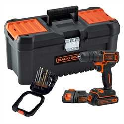 Black and Decker - Trapano avvitatore 18V in cassetta portautensili con due batterie e 16 accessori in dotazione - BDCDC18BTA