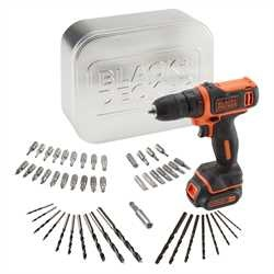 Black and Decker - TrapanoAvvitatore 108V Litio in scatola metallica con 50 accessori - BDCDD12AT