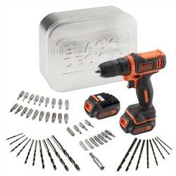 Black and Decker - TrapanoAvvitatore 108V Litio in scatola metallica con doppia batteria e 50 accessori - BDCDD12BAT