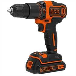 Black and Decker - TrapanoAvvitatore a percussione 18V Litio con doppia batteria in valigetta - BDCHD18KB