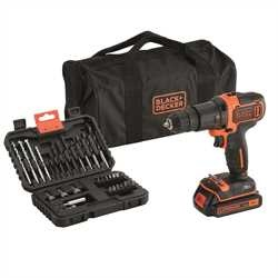 Black and Decker - TrapanoAvvitatore a percussione 18V Litio in borsa multiuso con set 32 accessori - BDCHD18S32