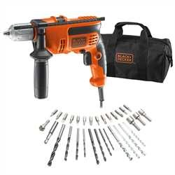 Black and Decker - Trapano a percussione 710W in borsa multiuso con 32 accessori - KR714S32