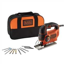 Black and Decker - Seghetto alternativo Autoselect 620W ad azione pendolare in borsa portautensili con 10 lame - KS901SESA2