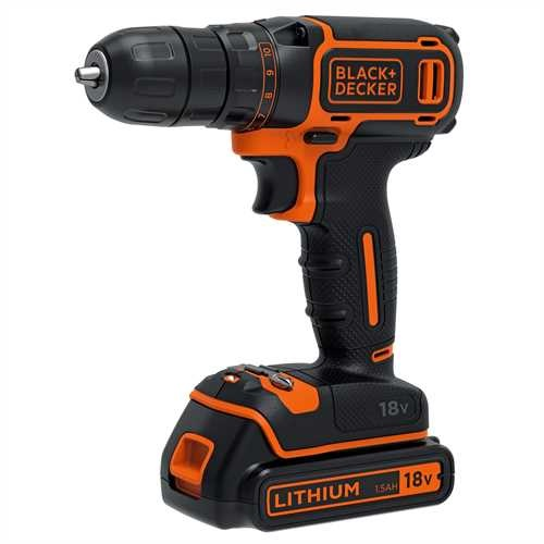 Black and Decker - TrapanoAvvitatore 18V Litio in valigetta con doppia batteria - BDCDC18KB