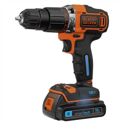 Black and Decker - TrapanoAvvitatore a percussione smart tech 18V Litio in valigetta - BDCHD18KST